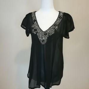 Antik Batik black sheer jeweled blouse